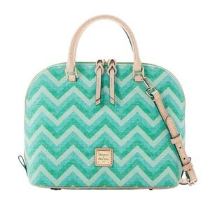Dooney & Bourke GREEN CHEVRON ZIP ZIP SATCHEL, NWT